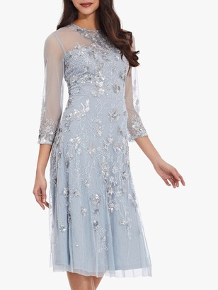 Adrianna Papell Beaded Cocktail Dress, Blue Heather