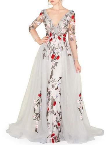 Mac Duggal Floral Embroidered Long-Sleeve Plunging Neck Gown