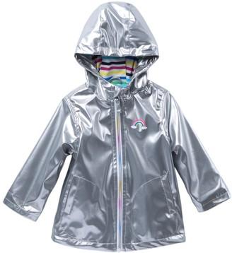 Pink Platinum Metallic Solid Rain Jacket (Baby Girls)
