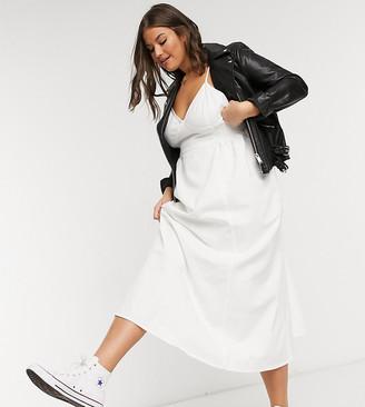 ASOS DESIGN Curve soft denim shirred waist v neck slip maxi dress