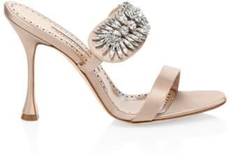 Manolo Blahnik Embellished Satin Mule Sandals