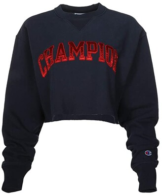 Champion Vintage Wash Reverse Weave(r) Cropped Cut Off Crew (Navy) Women's Clothing