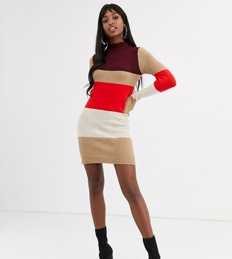 Brave Soul Tall marlo block stripe jumper dress