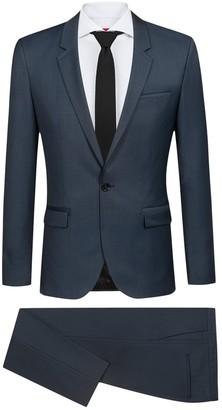 BOSS Blue Sharkskin Single Button Notch Lapel Wool Suit