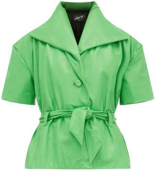 Elzinga - Belted Short-sleeve Leather Jacket - Womens - Green