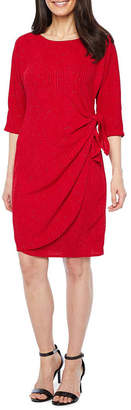 Robbie Bee 3/4 Sleeve Glitter Knit Sheath Dress-Petite