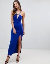 Asos Design DESIGN scuba maxi dress with lace back detail