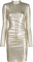 Alice + Olivia Alice+Olivia band collar ruched metallic dress