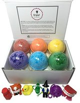 Kids Fizzy BUBBLE Bath Bombs with Toy Surprises Inside(Gender Neutral) - Rainbow Colors - Set of 6 - Stain Free - Kid Safe - Made in the USA