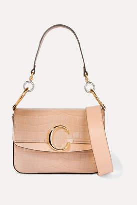Chloé C Small Leather-trimmed Croc-effect Shoulder Bag - Beige