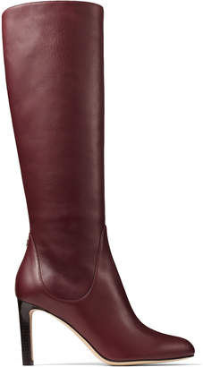 Jimmy Choo TEMPE 85 Bordeaux Calf Leather Knee Boots