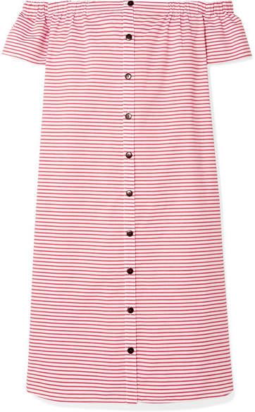 Mara Hoffman Malou Off-the-shoulder Striped Organic Cotton Dress - Red