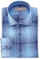 Neiman Marcus Plaid Linen Dress Shirt