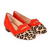 Charlotte Olympia Charlotte OlympiaGirls Red Lips & Leopard Suede Shoes