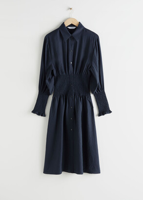 And other stories Smocked Midi Shirt Dress