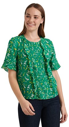 Lucky Brand Short Sleeve Crew Neck Skylar Pin Tuck Top (Green Multi) Women's Clothing