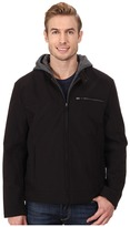 Kenneth Cole Reaction Softshell Zip Front Jacket with Jersey Hood