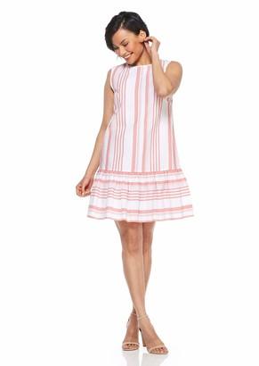 London Times Women's Petite Round Neck Sleeveless Aline Flounce Hem Dress