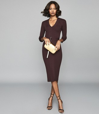 Reiss Alicia - Belted Knitted Bodycon Dress in Berry
