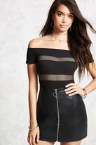 Forever 21 FOREVER 21+ Shadow-Stripe Bodysuit