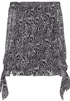 Derek Lam Off-the-shoulder Printed Silk-georgette Top