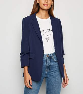 New Look Crepe Ruched Sleeve Blazer