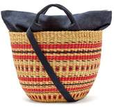 Muun Striped Woven-grass Basket Bag - Womens - Red Navy