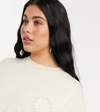 ASOS DESIGN Weekend Collective Curve oversized t-shirt with embroidered logo in stone