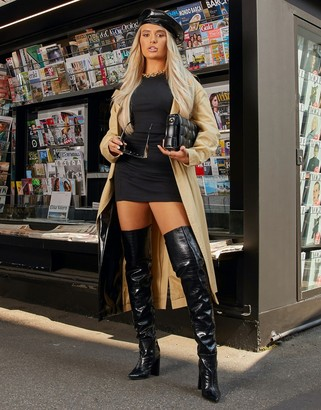 Ego x Molly-Mae Visionary slouch over the knee boots in black croc