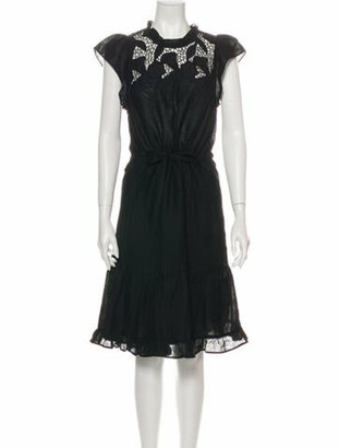 Ulla Johnson Linen Midi Length Dress Black