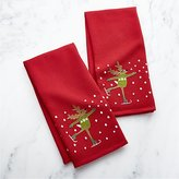 Crate & Barrel Skating Reindeer Waffle Weave Dish Towels Set of Two