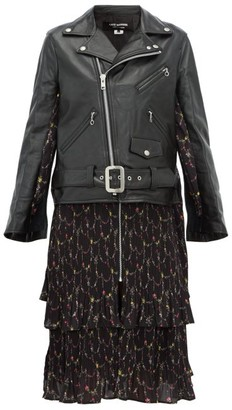 Junya Watanabe Dress-panel Leather Biker Jacket - Womens - Black Multi