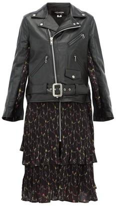 Junya Watanabe Dress Panel Leather Biker Jacket - Womens - Black Multi