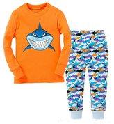 "Pandaprince Little Boy ""Shark"" 2 Piece Pajama 100% Cotton (Size 2T-7T)"