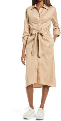 Fraiche by J Tie Front Long Sleeve Shirtdress