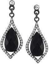 2028 Silver-Tone Caged Jet Stone and Crystal Drop Earrings, a Macy's Exclusive Style