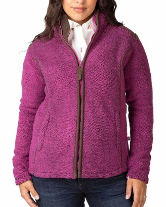 Rydale Ladies Fleece Jackets Full Zip Kilnsey Thick Long Sleeved Jumper with Contrast Zipper (Pink 14)