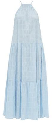 Cult Gaia Linda Ruched Cotton Blend Maxi Dress - Womens - Blue