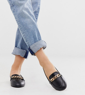 Raid Wide Fit Liviah black leather look chain trimmed loafers
