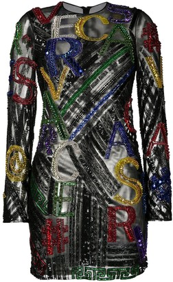 Versace Pre-Owned Sequinned Logo Lettering Mini Dress