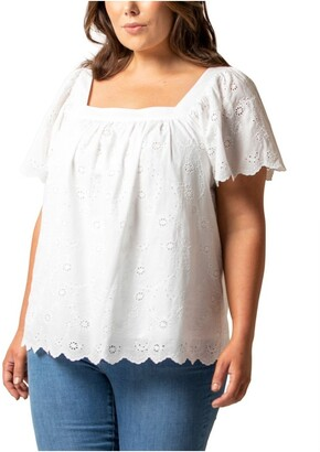 Forever New Curve Jane Curve Square Neck Embroidered Top