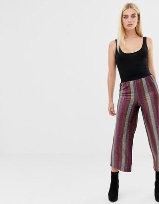 Asos Design DESIGN glitter stripe cropped straight leg trouser-Multi