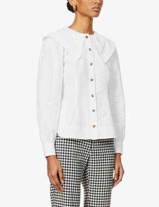 Ganni Frill-trimmed organic cotton-poplin shirt