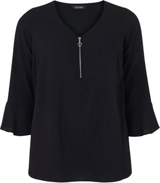 Evans Black Zip Front Frill Sleeve Top
