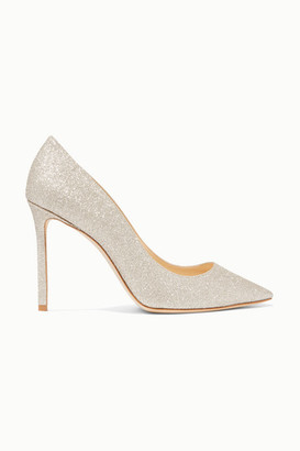 Jimmy Choo Romy 100 Glittered Leather Pumps - Off-white