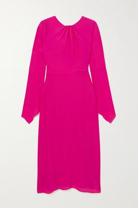 Victoria Beckham Twisted Cutout Silk-crepe Midi Dress - Fuchsia
