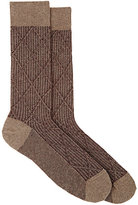 Barneys New York MEN'S DIAMOND-PATTERN COTTON-BLEND MID-CALF SOCKS-TAN