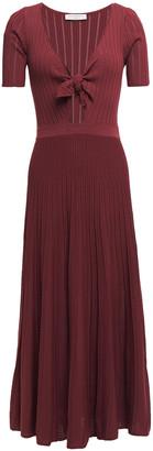 Sandro Shayna Knotted Pointelle-knit Midi Dress