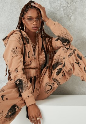 Missguided Brown Graphic Print Drawstring Corset Hoodie