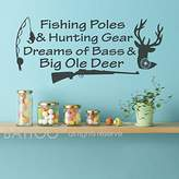 "BATTOO Fishing Poles And Hunting Gear - Kids Room Decal - Wall Decals Nursery Boy - Hunting Decal - Fishing Wall Decal - Fishing Decal(Black, 22""WX10""H)"